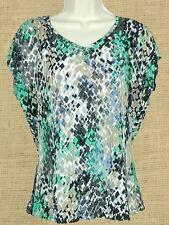 Worthington Women's Stretch Black, Blue, Green, Beige Cap Sleeve Top Sz Medium