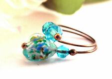 Wire Wrap Ring Women's Jewelry Blue Aquamarine Heart Beaded Ring Adjustable Size