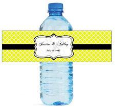 "100 Yellow Pattern Monogram Wedding Water Bottle Labels Engagement Bridal 8""x2"""