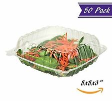"(50 Pack) 8"" x 8"" x 3"" Clear Plastic Hinged Containers with Snap-On Corners"