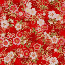 Robert Kaufman IMPERIAL COLLECTION METALLIC Japanese floral flower fabric - Red