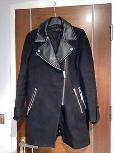 Zara Woman Black Tweed Faux Leather Detail Biker Style Coat Jacket Size S