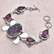 Handmade Bracelet 24 Gms Ab 41868 Titanium Druzy Amethyst Ethnic Gift Jewelry