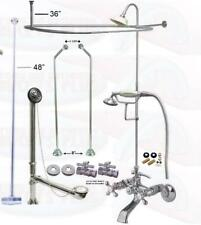 "Chrome Clawfoot Faucet Kit W/Shower Riser Enclosure, Drain Kit – 48"" Support"