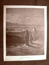 Incisione Gustave Dorè del 1890 Dante incontra Catone Divina Commedia Purgatorio