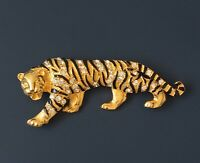 Vintage Tiger Brooch PIn  in enamel on gold  tone  metal