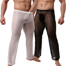 Fetish Mens Underwear Sheer Mesh Muscle T-Shirt Tank Tops Long Johns Trousers