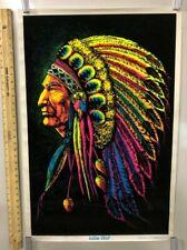 "Vintage NOS Blacklight Poster ""Indian Chief"" Native American 1972 American"