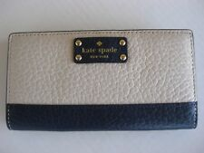 NEW! Kate Spade Stacy Bay Street Bifold Leather Wallet color Pebble / Navy NWT