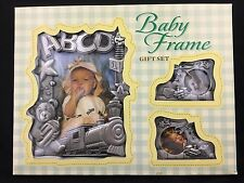 Baby Photo Frames Gift Set of 3 Brushed Silver Metal Newborn Nursery Décor Train