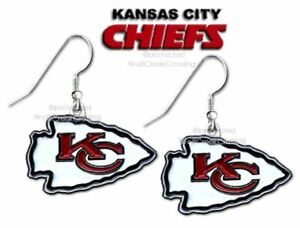 KANSAS CITY CHIEFS EARRINGS NFL FOOTBALL EAR GEAR JEWELRY - FREE SHIP  #B' - NEW