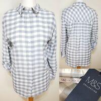 M&S Grey White Check Button Down Shirt Plus Size 20 BNWT Western Lumberjack