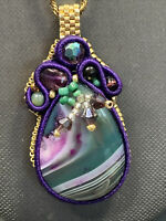 """Artist Natural Green purple Stone Pendant Necklace  10k gold plated 26"""" chain"""