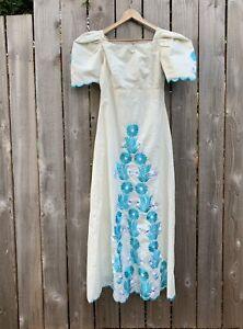 Vintage 70s Hippie Dress Boho Mexican Wedding Floral Embroidery Medium/Large M/L