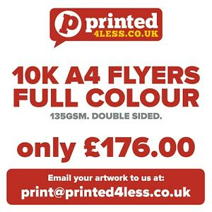 10000 A4 FLYERS DOUBLE SIDED PRINTED FULL COLOUR 135GSM A5 A6 LEAFLETS FLIER