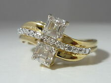 Stunning & Unusual Ice Zircon 9k Gold Ring Size N - Certified