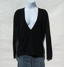 "100% Cashmere Knit Sweater Ladies ""Long V-Neck"" Himalayan Black Size: L"