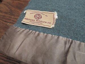 Wool Blanket Blue Green Vintage American Woolen Company