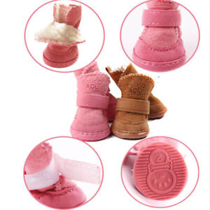 Winter Small Dog Boots Anti-Slip Puppy Shoes Pet Protective Snow Booties Brown