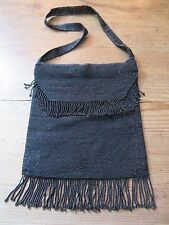 French Vintage 1930's Black Glass Bead Flapper Bag Purse Silk Lined