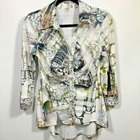 IC Paris Womans Button Up Blouse Top Size XL 3/4 Sleeves White Multi