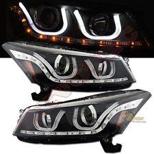 2008-2012 Honda Accord 4DR sedan LED U BAR i8 style Projector Headlights Black