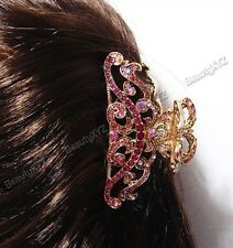 NEW Pink Flowers Austrian Crystal Metal hair claws clips pins 8000