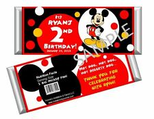 Mickey Mouse Candy Bar Wrappers - Birthday Favors - Set of 12