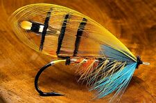 "3.25"" Dressed Gold Jungle Cock Salmon fly art Sticker / decal Fly tying fishing"
