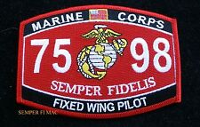 MOS 7598 FIXED WING PILOT PATCH US MARINES PIN UP COIN WOW USS FMF GIFT