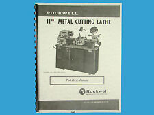 Rockwell 11 inch Metal Lathe  Parts List Manual s/n: 138-9101 & up  *468