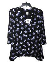 NWT Anne Klein Women's Top Navy & Purple Geometric Size 1X Retail $79.