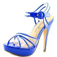 Calzado de mujer sandalias con tiras de color principal azul sintético