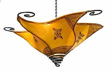 Moroccan Sconce Lamp Goat Lamb Skin Shade Henna Light Fixtures Wall Ceiling New