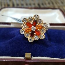 GEMPORIA STERLING SILVER RING, MEXICAN FIRE OPALS, WHITE TOPAZ, SIZE Q, BNWT