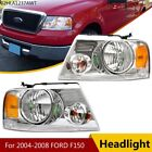 2x Headlight Assembly Fit For 04-08 Ford F-150 F150 Chrome Housing Clear Side Us