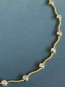 """18ct White Yellow Two Tone Gold solitaire Diamond Necklace 1ct By Yard 16"""""""
