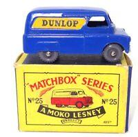 """LESNEY MATCHBOX NO. 25 BEDFORD """"DUNLOP"""" VAN - MINT BOXED 'MOKO' GREY WHEELS"""