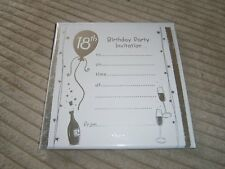 18TH BIRTHDAY PARTY INVITATIONS.  8 CARDS  with  ENVELOPES.  NEW