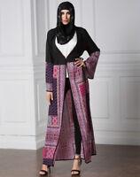 Plus Size Muslim Ladies Kaftan Robe Abaya Jilbab Vintage Print Tunic Maxi Dress