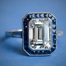 Huge 22.00 Ct White Diamond Emerald Cut Art Deco Engagement Ring in 925 Silver