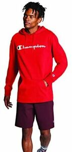 Champion Men's Middleweight Jersey Hoodie, Script Logo Scarlet Small