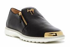 $810 Giuzeppe Zanotti Venetian Gold Double Zip Loafer Black  Sneakers Shoes 40