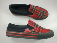 Underground size 5 (38) red tartan canvas skater shoes slip on flat trainers