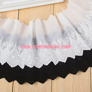 HB77 10cm,1yard, white,black embroidered flower Cotton fabric lace trim for DIY
