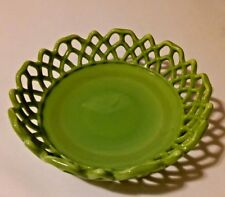 Hazel Atlas Akro Agate Green Milk Glass Dish Bowl Open Lace Edge Very Rare 1940s