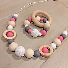 Nursing Necklace & Teether Gift Set, BPA Free Silicone, Organic Wood, Sensory