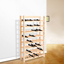 Wood Wine Rack 64 Bottle Holder Storage Floor Standing 8 Shelf Kitchen Modular