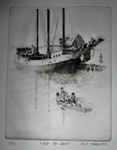 Out to Sea Etching, Reinhold Palenske Listed