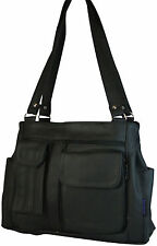 Pebbled LEATHER Organizer Purse w/ Pockets & 3 Compartments BLACK Handbag NEW